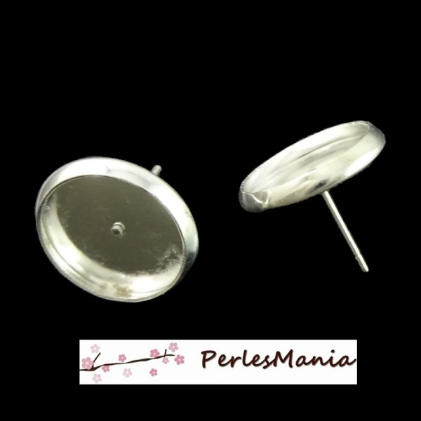 HQ005 PAX 50 Supports de Boucle d'oreille puce 12mm Laiton coloris Argent VIF - Photo n°1
