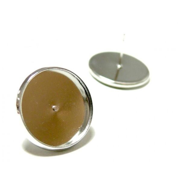 BN114794 PAX 20 Supports de Boucle d'oreille puce 14mm Laiton couleur Argent Platine - Photo n°1