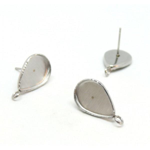 HR012505 PAX: 10 Supports de Boucle d'oreille Puce ACIER INOXYDABLE 304 nforme Goutte 10 par 14mm - Photo n°1