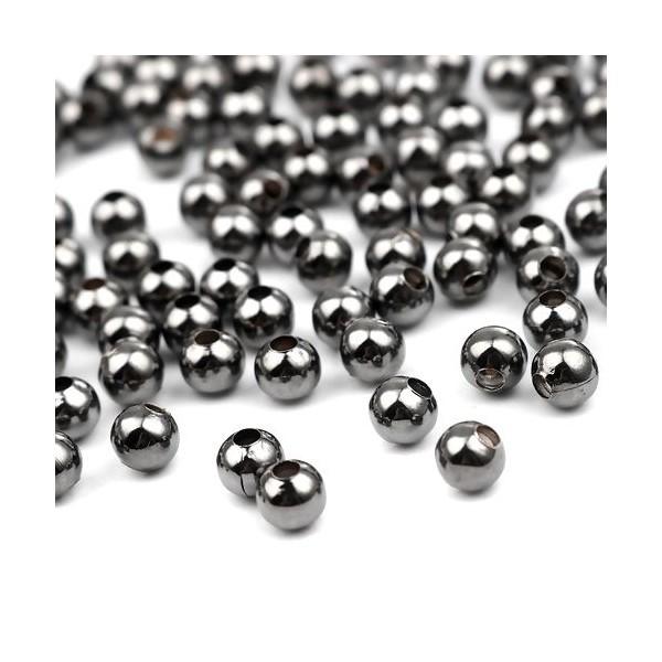 PS110257081 PAX 500 perles intercalaires Bille 2 mm Métal couleur Gun métal - Photo n°1