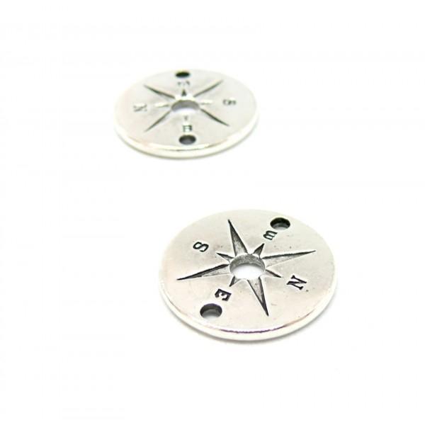 PS110121086 PAX 10 pendentifs breloque MEDAILLE Boussole 20mm couleur Argent Antique - Photo n°1