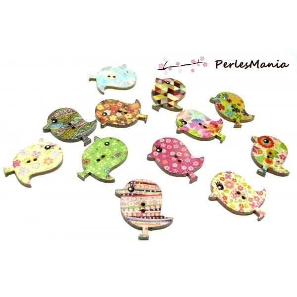 Lot de 20 boutons en bois multicolores Oiseau ref H1141 - Photo n°1