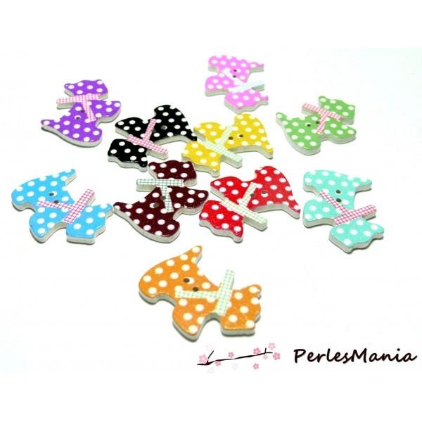 Lot de 20 boutons en bois multicolores Chien à pois ref H1129 - Photo n°1