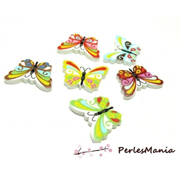 Lot de 20 boutons en bois multicolores Papillons ref H1130 - Photo n°1