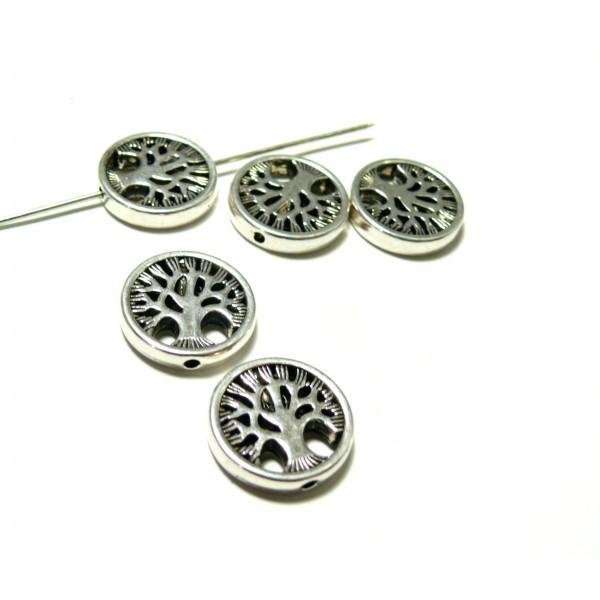 PS11101360 PAX 5 perles intercalaires ARBRE metal couleur ARGENT ANTIQUE PS11101360 - Photo n°1
