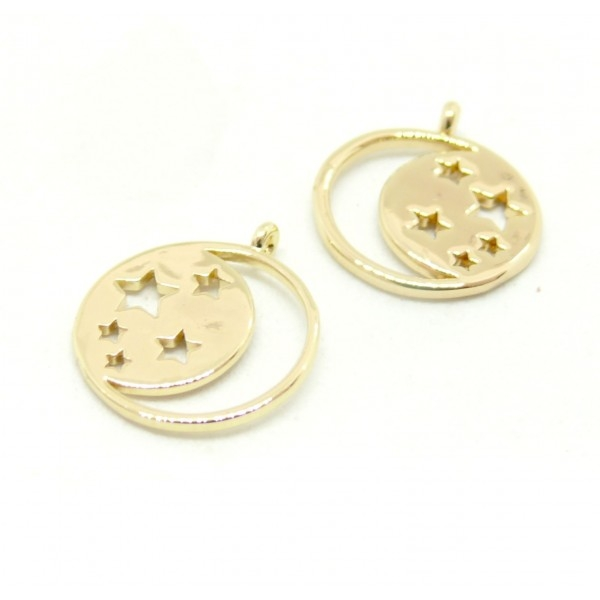 PS110107075 PAX 2 Pendentifs Etoile, Galaxie18 par 15 mm GOLD FILLED 14K pour bijoux raffinés - Photo n°1