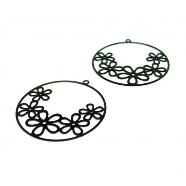 AE114993 Lot de 2 Estampes pendentif filigrane Fleurs dans Cercle 32mm coloris Noir - Photo n°1