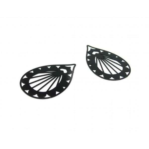 AE116673 Lot de 4 Estampes pendentif filigrane Goutte Travaillée 33mm coloris Noir - Photo n°1