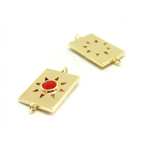 AE009 PAX 1 connecteur émaillé medaillon Rectangle 10 par 17mm cuivre doré emaillé Rouge - Photo n°1