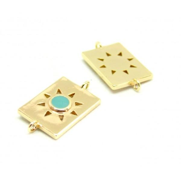 AE009 PAX 1 connecteur émaillé medaillon Rectangle 10 par 17mm cuivre doré emaillé Bleu - Photo n°1
