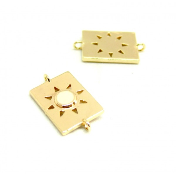 AE009 PAX 1 connecteur émaillé medaillon Rectangle 10 par 17mm cuivre doré emaillé Blanc - Photo n°1