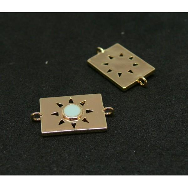 AE009 PAX 1 connecteur émaillé medaillon Rectangle 10 par 17mm cuivre doré emaillé Bleu Ciel - Photo n°1