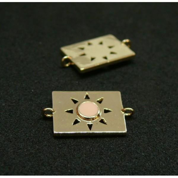 AE009 PAX 1 connecteur émaillé medaillon Rectangle 10 par 17mm cuivre doré emaillé Rose Pale - Photo n°1
