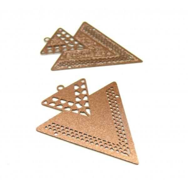 AB113335 Lot 4 Estampes pendentif Geometrique Double Triangle de 40mm Marron Cuivré - Photo n°1