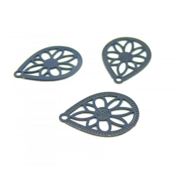 AE1110823 Lot de 6 Estampes pendentif connecteur filigrane Goutte 16mm coloris Gris Anthracite - Photo n°1