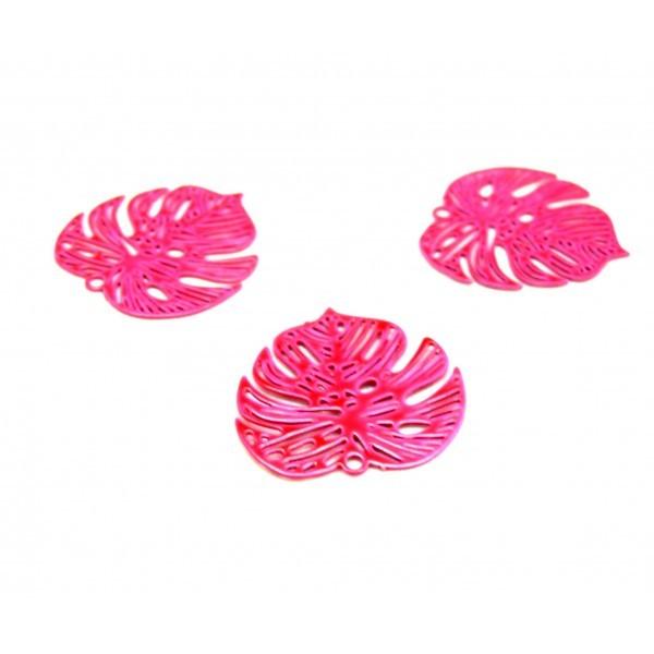 AE1111507 Lot de 4 Estampes pendentif connecteur filigrane Feuille Monstera 18mm coloris Rose Flash - Photo n°1