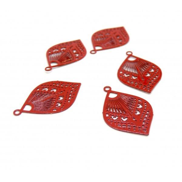 AE115342 Lot de 4 Estampes pendentif connecteur filigrane Goutte eventail Rouge 20mm - Photo n°1
