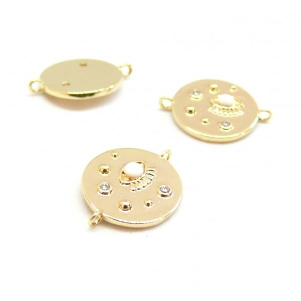 AE007 PAX 1 connecteur émaillé Oeil de la protection 14 par 18mm cuivre doré emaillé Blanc - Photo n°1