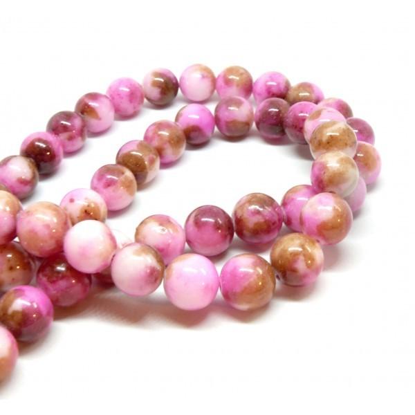 10 Perles Jade teintée 8mm Marron, Rose et Fushia R730901 - Photo n°1