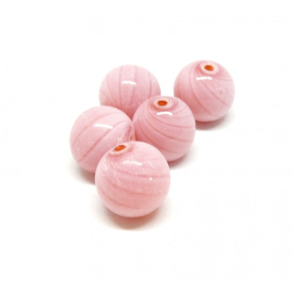 Lot de 4 perles rondes en verre soufflé 12mm ID 139 - Photo n°1