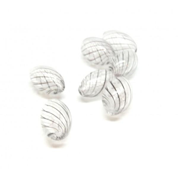 Lot de 4 perles Oblong en verre soufflé 15 par 8mm ID 14 - Photo n°1