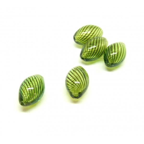 Lot de 4 perles Oblong en verre soufflé 15 par 8mm ID 16 - Photo n°1