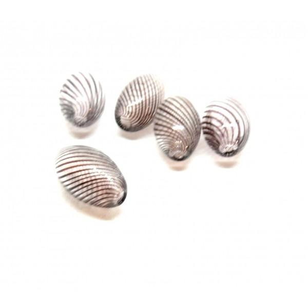Lot de 4 perles Oblong en verre soufflé 15 par 8mm ID 18 - Photo n°1