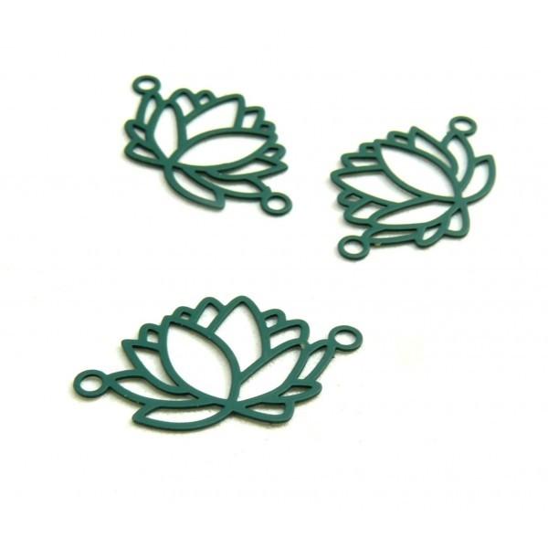 HT4219B PAX de 10 Estampes pendentif connecteur filigrane Fleur de lotus 23mm métal couleur Vert Fo - Photo n°1