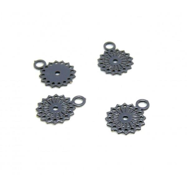 AE11444 Lot de 10 Estampes pendentifs filigrane Mandala 5 par 7mm Coloris Gris Anthracite - Photo n°1
