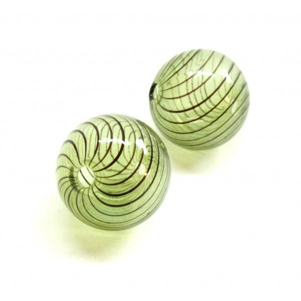 Lot de 4 perles rondes en verre soufflé 25mm ID 47 - Photo n°1