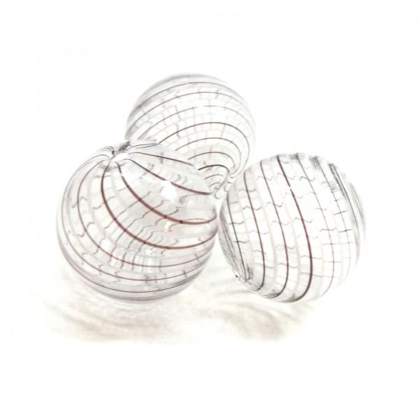Lot de 4 perles rondes en verre soufflé 25mm ID 45 - Photo n°1