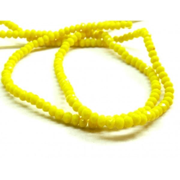 1 fil d'environ 190 perles Rondelles 3 par 2mm Verre facettée Jaune couleur 33 - Photo n°1