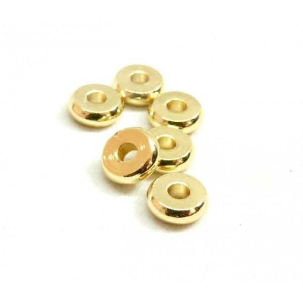 BU160420083407 PAX 20 perles intercalaires Rondelles 5 par 1.5mm Laiton couleur Doré - Photo n°1