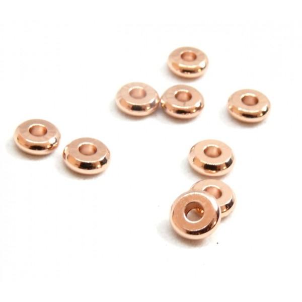 BU160420083407 PAX 20 perles intercalaires Rondelles 4 par 1,5mm Laiton couleur Or Rose - Photo n°1