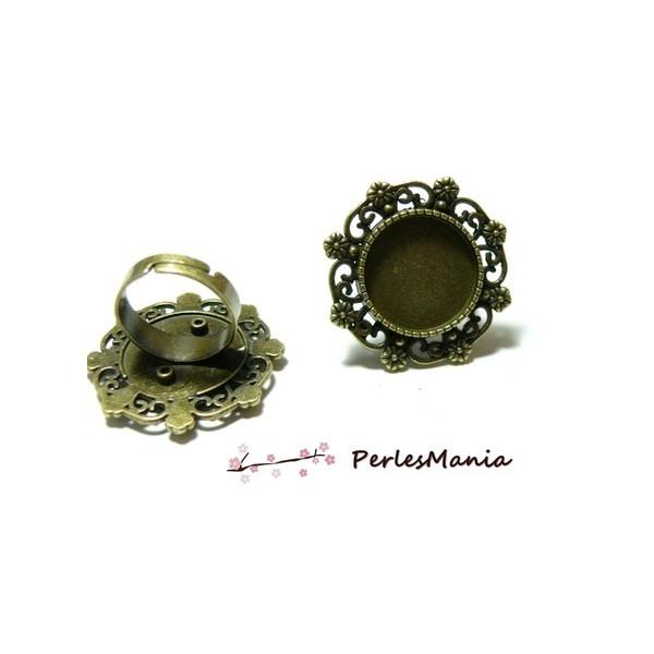 5 bagues ARTY Multi Fleurs qualité 18mm BRONZE P3921 materiel pour création de bijoux - Photo n°1
