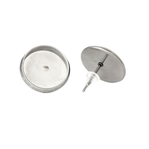 PS1100158 PAX: 10 Supports de Boucle d'oreille 12mm puce ACIER INOXYDABLE 304 et poussoirs en plast - Photo n°1
