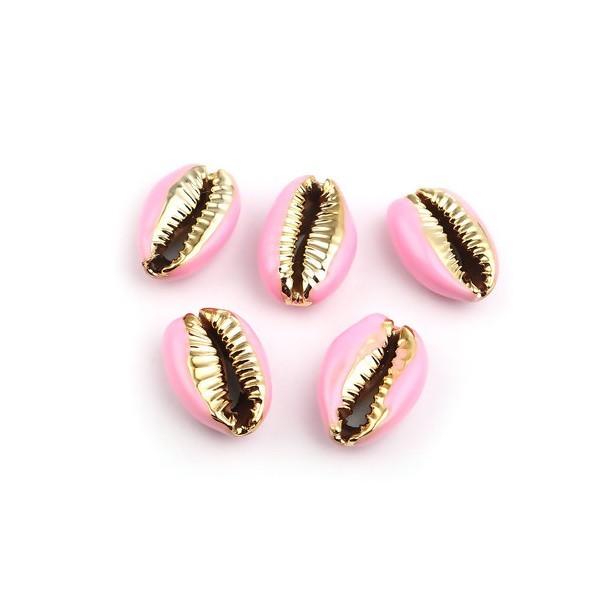 PS110215204 PAX 4 slides médaillons émaillés Coquillage Cauri Rose sur une base en métal Doré - Photo n°1