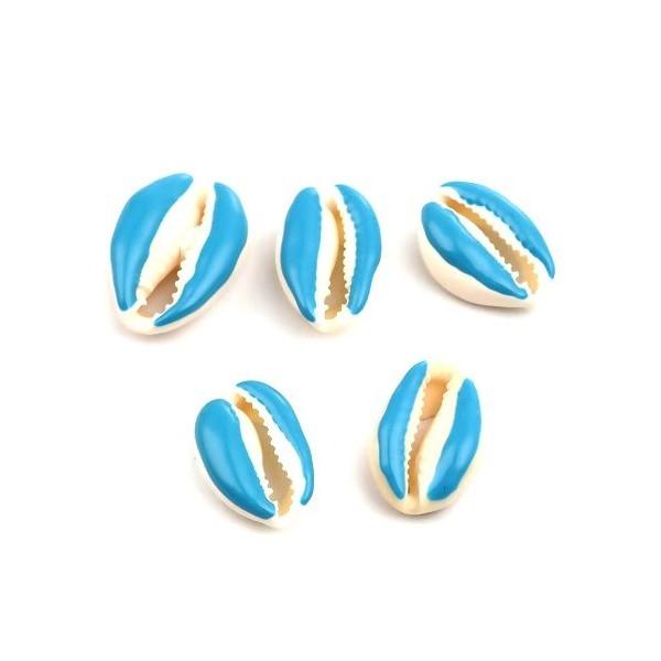 PS110215136 PAX 5 slides médaillons émaillés Coquillage Cauri Bleu Turquoise - Photo n°1