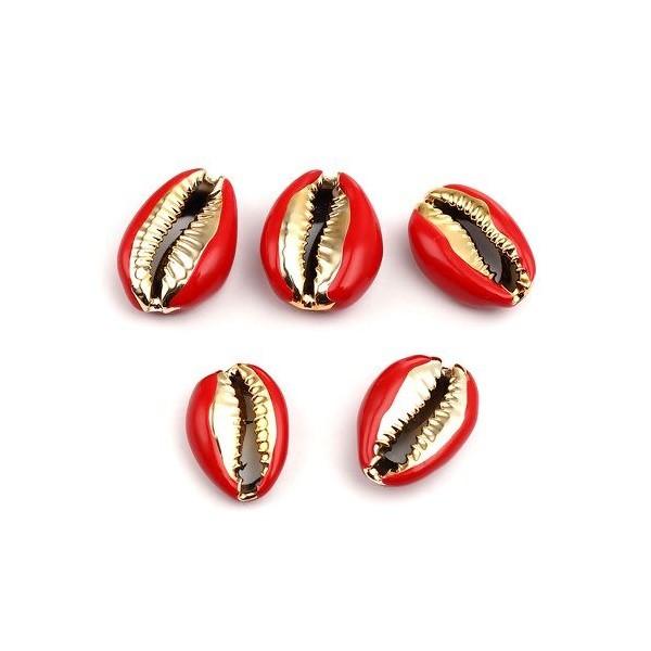 PS110215205 PAX 4 slides médaillons émaillés Coquillage Cauri Rouge sur une base en métal Doré - Photo n°1