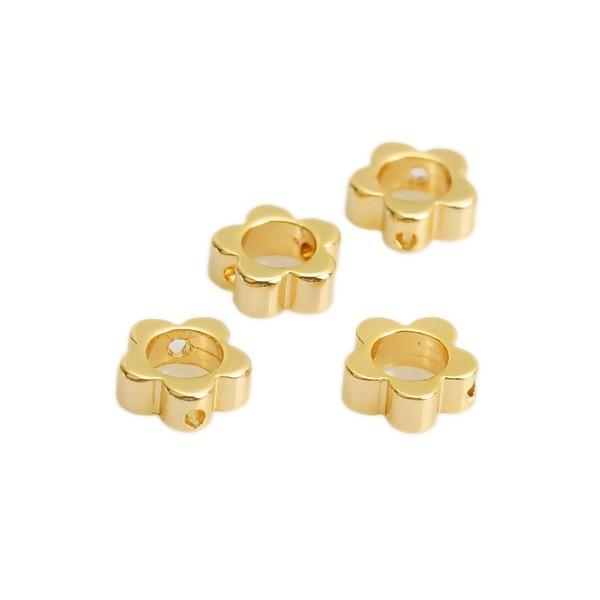 PS110210549 PAX de 5 perles intercalaires Fleurs 8 mm Cuivre Plaqué Or 18KT - Photo n°1