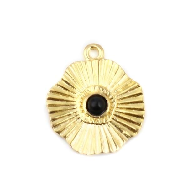 S11711860 PAX 5 pendentifs Forme Géométrique Fleur Soleil 19mm métal couleur Doré - Photo n°1