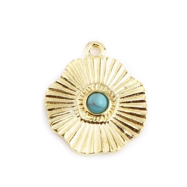 S11711861 PAX 5 pendentifs Forme Géométrique Fleur Soleil 19mm métal couleur Doré - Photo n°1