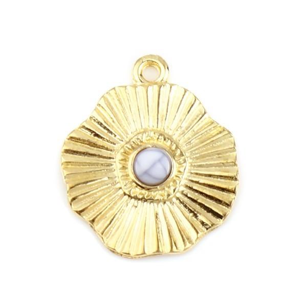 S11711863 PAX 5 pendentifs Forme Géométrique Fleur Soleil 19mm métal couleur Doré - Photo n°1