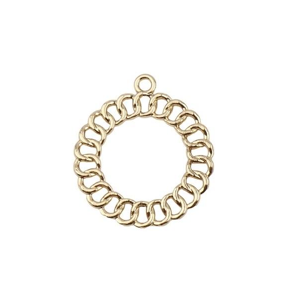 S11706298 PAX 2 pendentifs Forme Géométrique Cercle Style Maille 28mm métal couleur Doré - Photo n°1