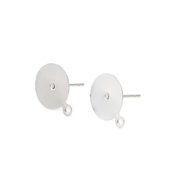 PS11714689 PAX 10 Supports de Boucle d'oreille puce 10mm avec attache en Acier Inoxydable Argent - Photo n°1