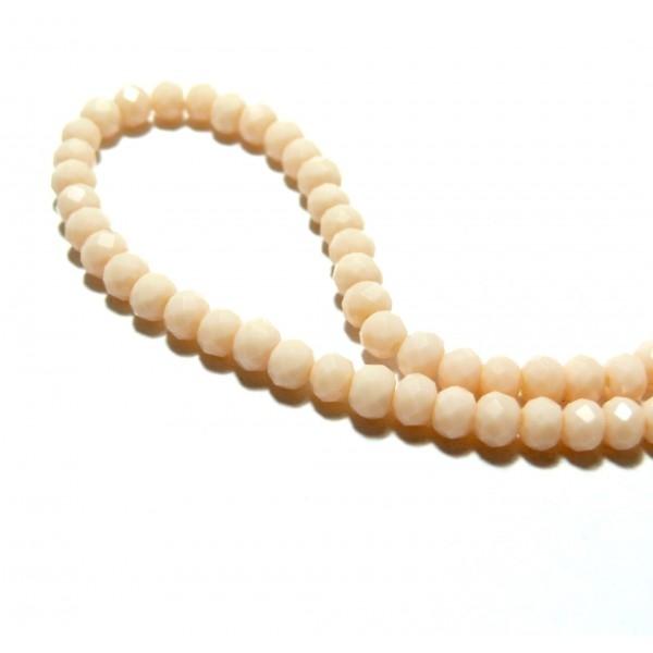 1 fil d'environ 190 perles Rondelles 3 par 2mm Verre facettée Rose Pale couleur 14 - Photo n°1