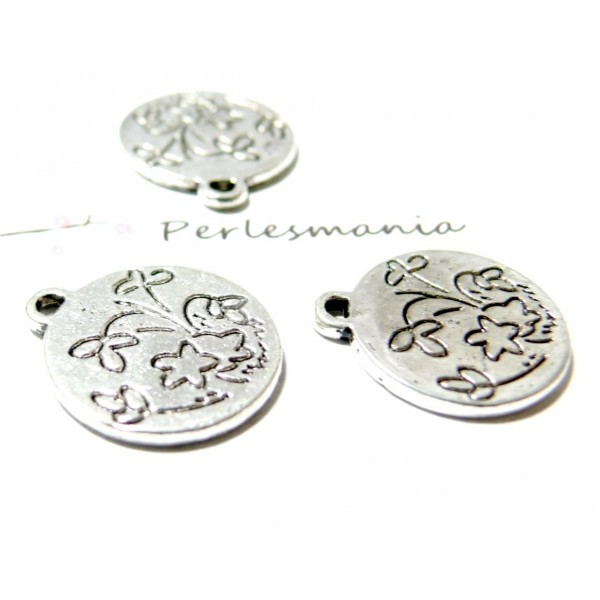 10 pieces pendentif champs de fleur vieil argent biface ref 2B5245 - Photo n°1