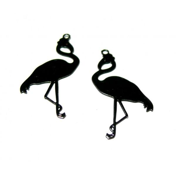 PS110146645 PAX de 10 Estampes pendentif filigrane Flamingo Flamant Rose Noir 27mm - Photo n°1