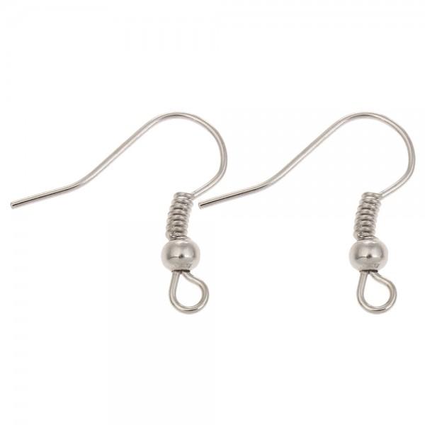 PS1100274 PAX 100 Boucles d'oreille crochets hamecons et boule metal couleur ARGENT PLATINE - Photo n°1
