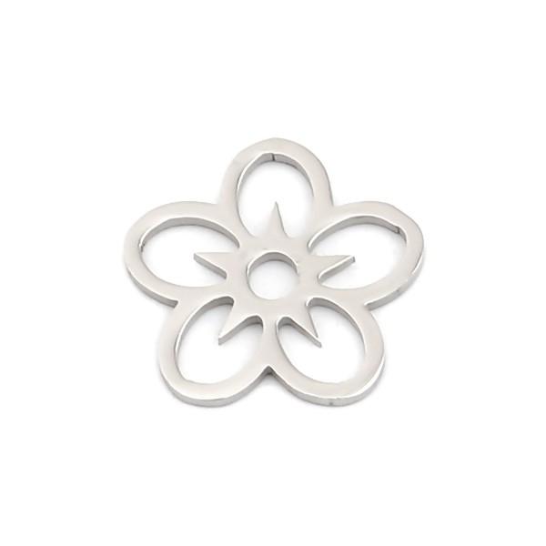 PS110257574 PAX 4 Pendentifs Fleur 16mm en Acier Inoxydable 304 Coloris Argent pour bijoux raffinés - Photo n°1